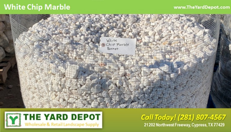 White Chip Marble Basket - TheYardDepot